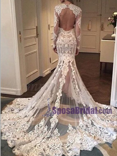 Full Lace Long Sleeves Most Popular Wedding Dresses, Free Custom Handmade Wedding Dress, Bridals Gowns,WD0263