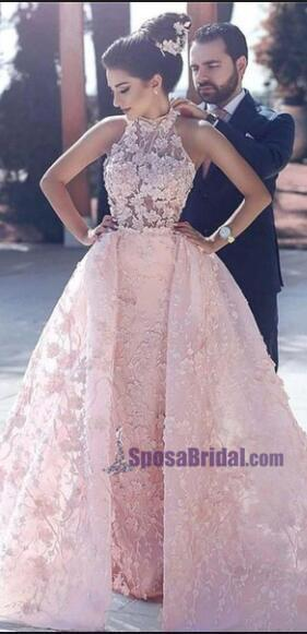 High Neck Lace Appliques Detachable Skirt Pink Prom Dresses, Pretty New Arrival High Quality Wedding dresses, PD0705