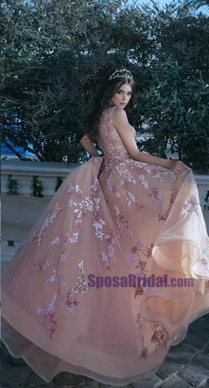 Charming Prom Dress, Long A-line Organza Lace Appliques Prom Dresses, Prom gown, PD0704 - SposaBridal