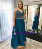 Blue Spaghetti Straps Two Piece V Neck Elegant Free Custom Prom Dresses, 2018 Prom dress, PD0682 - SposaBridal