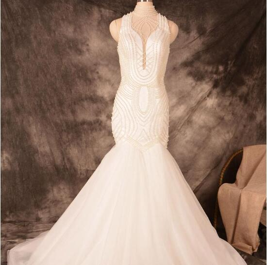 New Arrival Beading Mermaid Custom Unique Glamorous Wedding Dress, Bridals Dress, WD0256