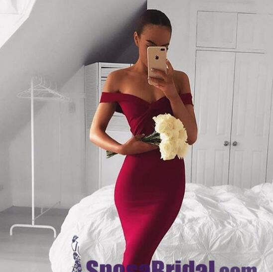 Mermaid Sexy Elegant Off the Shoulder  Long Bridesmaid Dresses, Formal Prom Dresses,PD0754