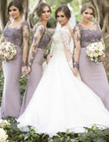 2019 Long Sleeves Mermaid Scoop Lilac Custom Bridesmaid Dresses , Wedding Party Dresses , PD242 - SposaBridal