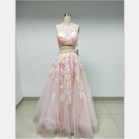 Discount Cheap Short in Size In Stock Two Pieces Pink Lace Prom Dresses Online,DD002