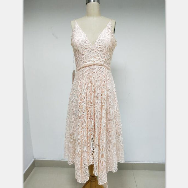 Discount Cheap Short in Size In Stock Pink Lace Spaghetti Straps Prom Dresses Online,DD006