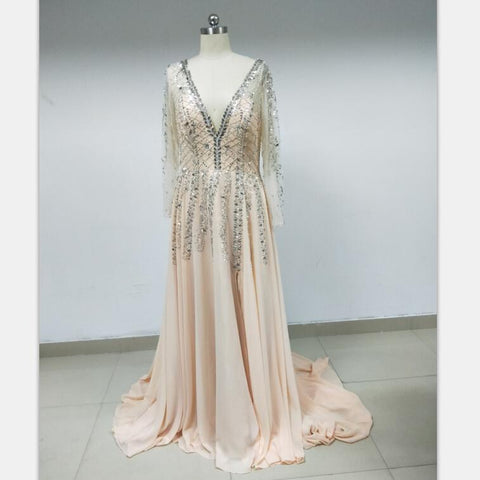 Discount Cheap Short in Size In Stock V Neck Long Sleeves Shinning Prom Dresses Online,DD004