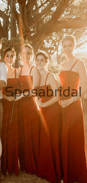 Red Unique Design Straps Long Simple Bridesmaid Dresses WG825