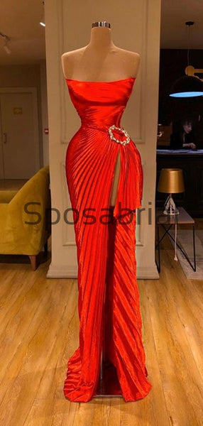 Red Cheap Side Slit Satin Simple Modest Prom Dresses PD2082