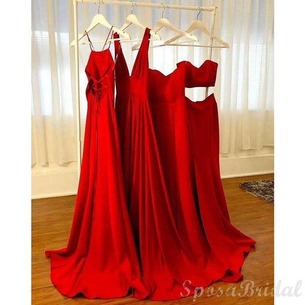 Red Gold Mismatched  Popular Elegant Fashion New Unique  Long Bridesmaid Dresses, Prom Dresses WG581
