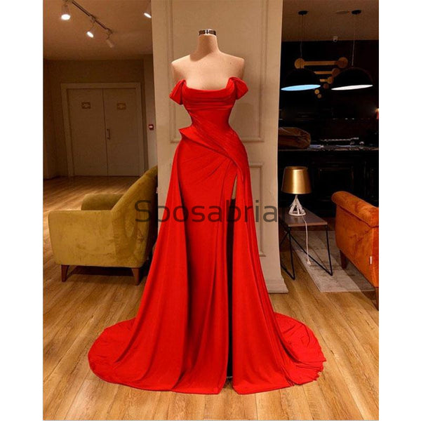 Red Mermaid Tight Side Slit Satin Simple Modest Prom Dresses PD2084