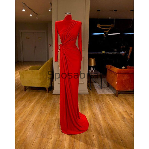 Red Mermaid Tight Slit Long Sleeves Simple Modest Prom Dresses PD2085