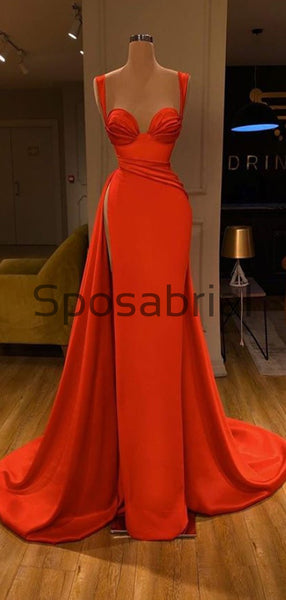 Red Mermaid Tight Cheap Slit Satin Simple Modest Prom Dresses PD2083