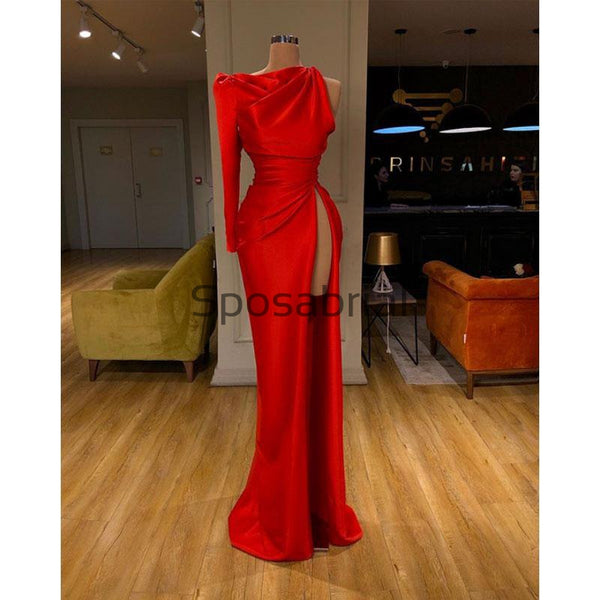 Red One Shoulder Side Slit Satin Simple Modest Prom Dresses PD2087
