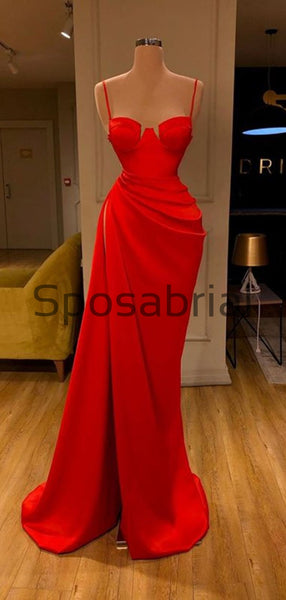 Red Spaghetti Straps Slit Satin Cheap Simple Modest Prom Dresses PD2088