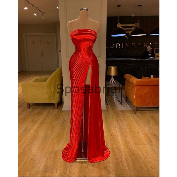 Red Strapless Side Slit Satin Simple Modest Prom Dresses PD2089