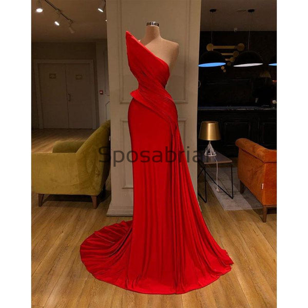 Red Unniqe Mermaid Satin Simple Modest Prom Dresses PD2090