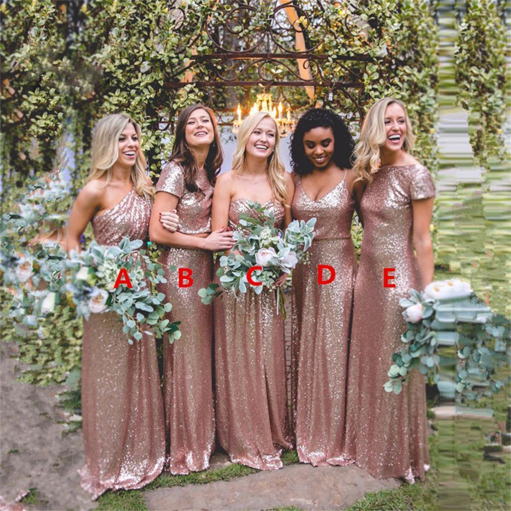 2018 Cheap Mismatched Sequin New Custom Formal Bridesmaid Dresses