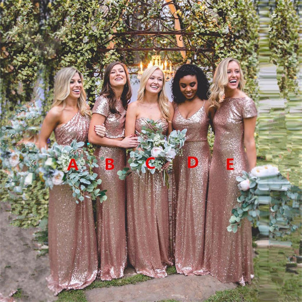2017 Cheap Mismatched Sequin New Custom Formal Bridesmaid Dresses, Prom Dress, PD0370