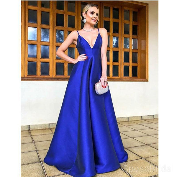 Royal Blue A Line Simple Modest Popular Custom Cheap Long Party Prom