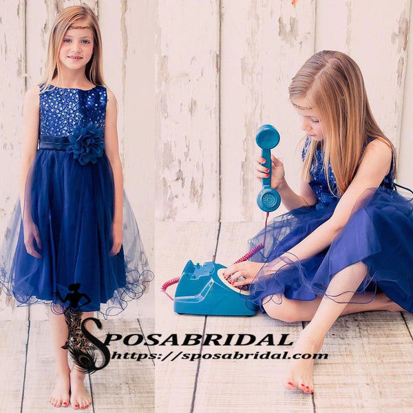 Royal Blue Top Sequin Sparkly Simple Round Neck Cheap Custom Flower Girl Dresses, FG121