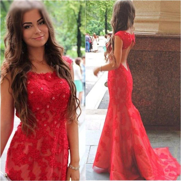long red prom dress , open back mermaid free custom bridesmaid dresses , PD0217