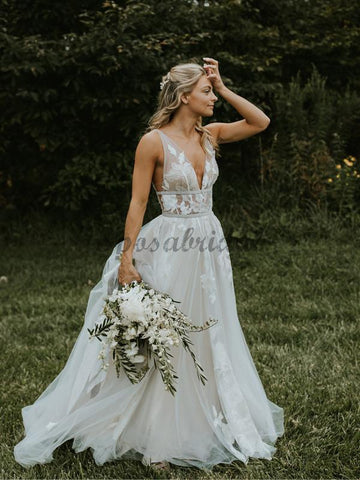 products/See_Through_Lace_Ivory_Tulle_V-neck_V-back_Beach_Wedding_Dresses_DB0160-1.jpg