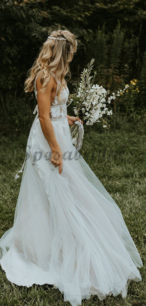 See Through Lace Ivory Tulle V-neck V-back Beach Wedding Dresses WD367
