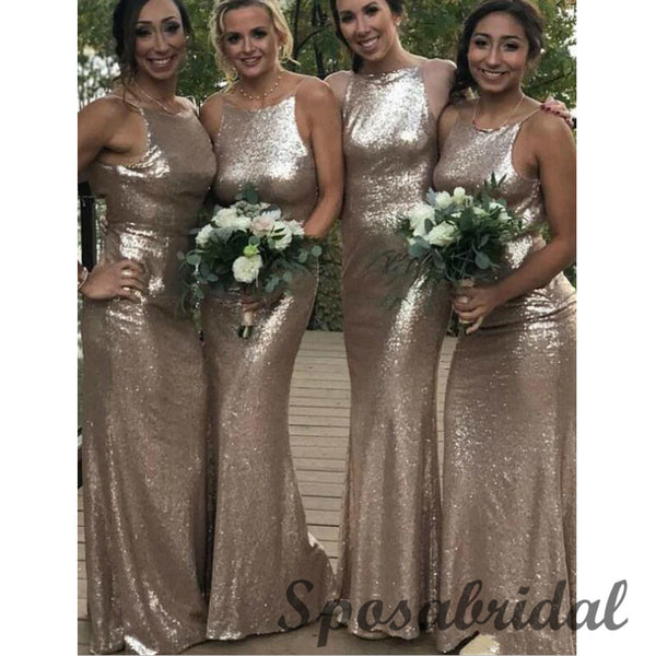 Sequin Spagheti Straps Mermaid Formal Bridesmaid Dresses WG921