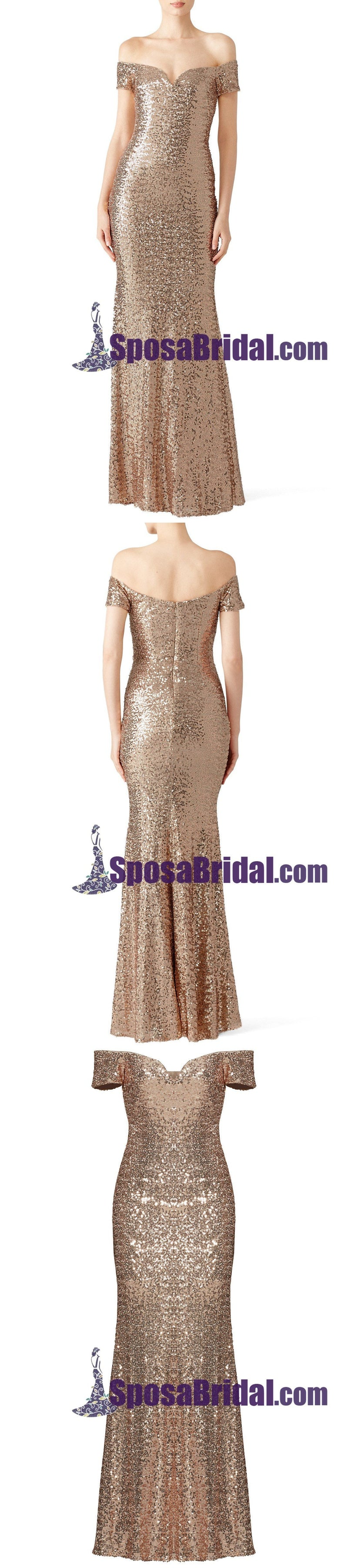 Sequin Mermaid Off Shoulder Long Bridesmaid Dresses, Sparkly Elegant Formal Popular Prom dresses, WG244