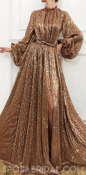 Sequin Sparkly Shinning Long Sleeves A-Line Cheap Modest Fashion Elegant Prom Dresses, Unique Party Dress, PD1178
