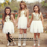Sequin Sparkly Short Round Neck Flower Girls Dresses, Popular Lovely Junior Bridesmaid Dresses, FG122