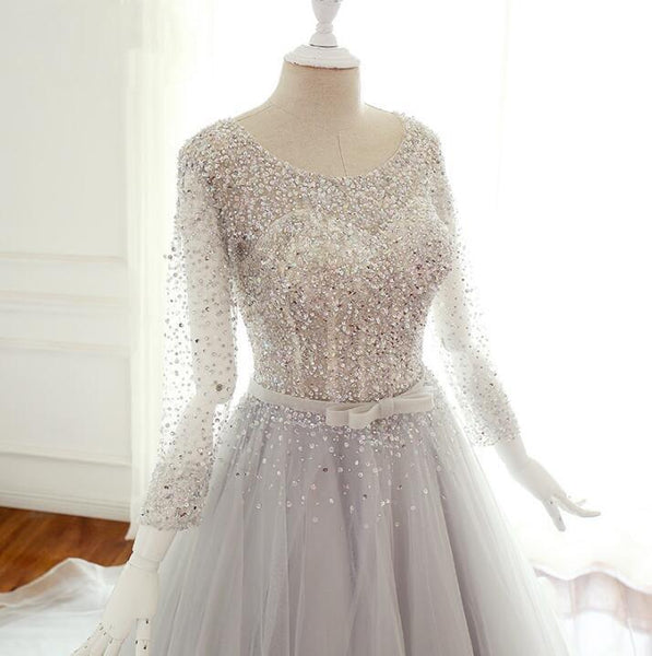 Sequin Sparkly Top Long Sleeves Scoop Unique Design Wedding Dresses, Spring Summer Free Custom Bridal Gowns , WD0283