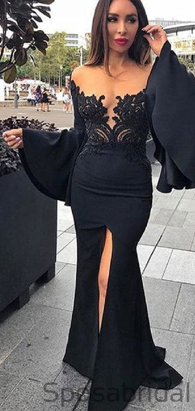 Sexy Mermaid Trumpet Sleeve Black Satin Long Prom Dresses with Lace Split PD2395