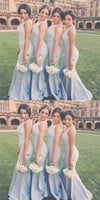 Elegant Sexy Formal Mermaid Deep V-Neck Light Blue Elegant Long Bridesmaid Dress, WG48