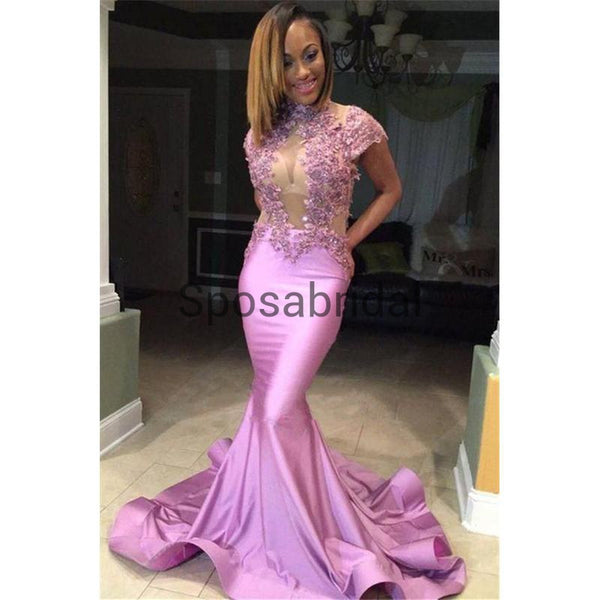 Sexy Elegant Mermaid Long Sleeves Pink Unique Long Modest Prom Dresses PD1930