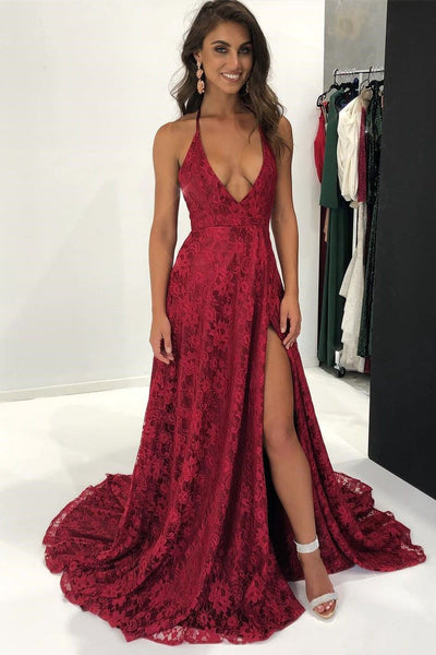 Sexy Halter Burgundy Red Full Lace Long Formal Split Prom Dresses, Evening Dress,party dress, PD0767