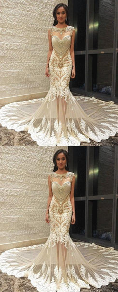 Sexy Mermaid Lace  Party Prom Dresses, Long Train Long Custom Made Wedding Dresses ,PD0533