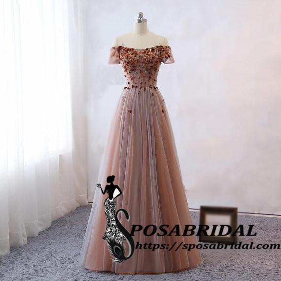 Sexy Off Shoulder Prom Dresses Sweetheart Neck Flowers Long Women
