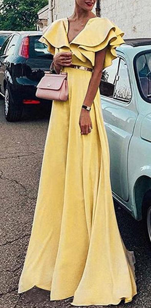 Sexy Pink Blue Yellow Short Sleeves V Neck A-Line Pretty Hot Sale Custom Made Prom Dresses Pd1117