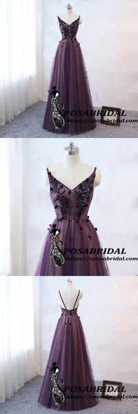 Purple Spaghetti Straps V-neck Tulle Prom Dress, Lace Crystal Bridesmaid Dresses ,WG328