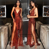 2019 Sexy Sequin Sparkly Red Split Mermaid Prom Dresses, Fashion Style, Spaghetti Straps prom dress, PD0713 - SposaBridal