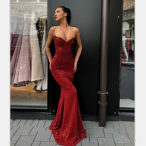 108711758c6e 2019 Charming Sexy Spaghetti Straps Cheap Silver Red Sequins Long Prom  Dresses