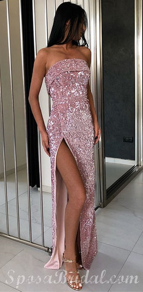 Sexy Strapless Rose Gold Sequins Side Slit Prom Dresses   Sleeveless Elegant Long Evening Dresses, PD1332