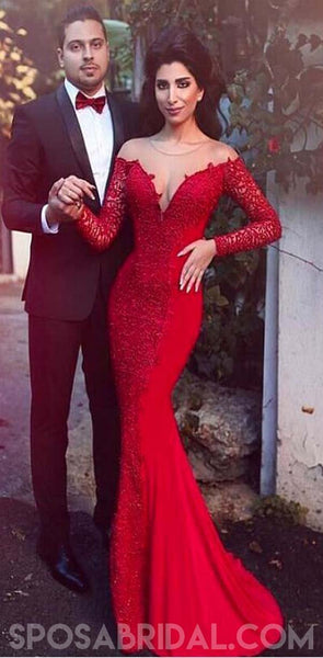 Sexy Stretch Satin Jewel Neckline Mermaid Red Long Sleeves Elegant Prom Dresses Evening Dresses , PD1180