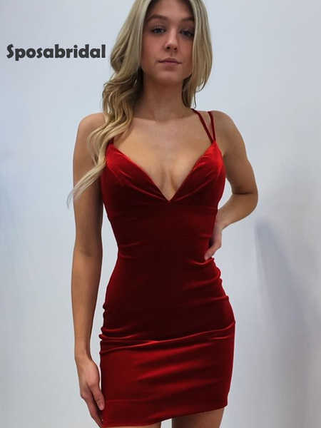 Sexy spaghetti strap velvet short prom dress, HD3000