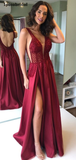 Sexy Sweetheart Lace Side Slit Backless A-line Long Prom Dress, PD3024