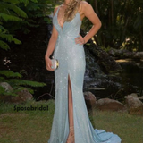 Sexy Sweetheart Spaghetti Strap Side Slit Mermaid Long Prom Dress, PD3027