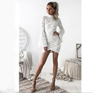 Sheath High Neck Long Bell Sleeves Short Fulle Lace Homecoming Dresses, Sexy Short Prom Dresses, BD0226