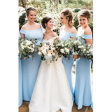 Sheath Off-Shoulder Light Blue Floor Length Simple Bridesmaid Dresses, WG523