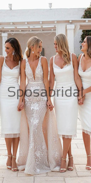 Short Mermaid Knee Length White Bridesmaid Dresses with Lace  WG727